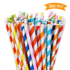 Paper straws, 300 Pack of Paper Straws in 8 Bright Colors Rainbow Stripes in Green, Blue, Yellow, Red, Etc Biodegradable and Durable Bulk Straws for P